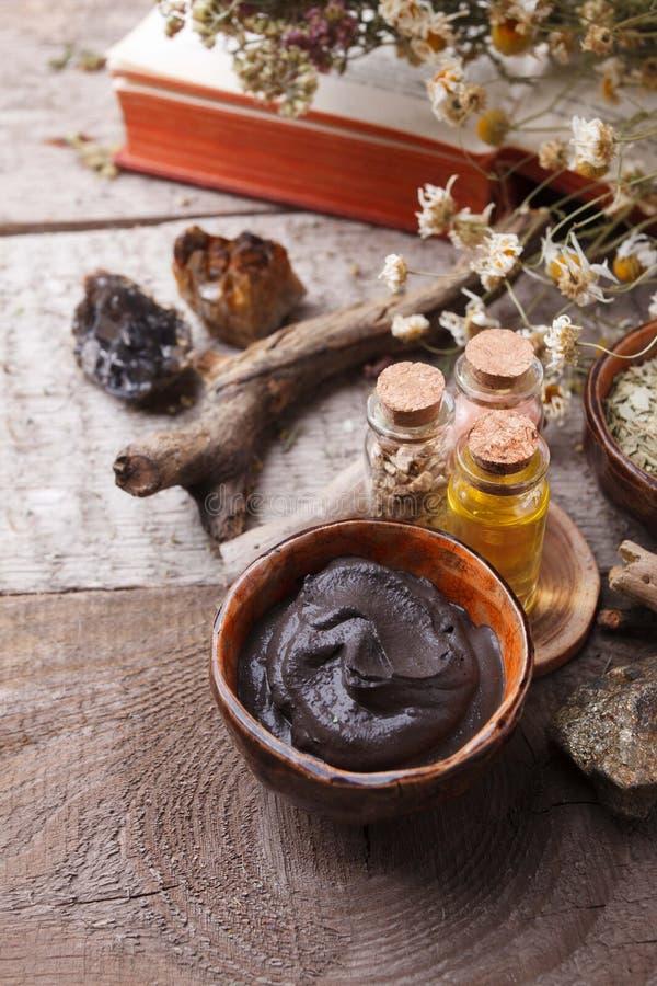 自然草本皮肤护理产品,顶视图成份 化妆油,黏土,海盐,草本,植物叶子 免版税库存图片