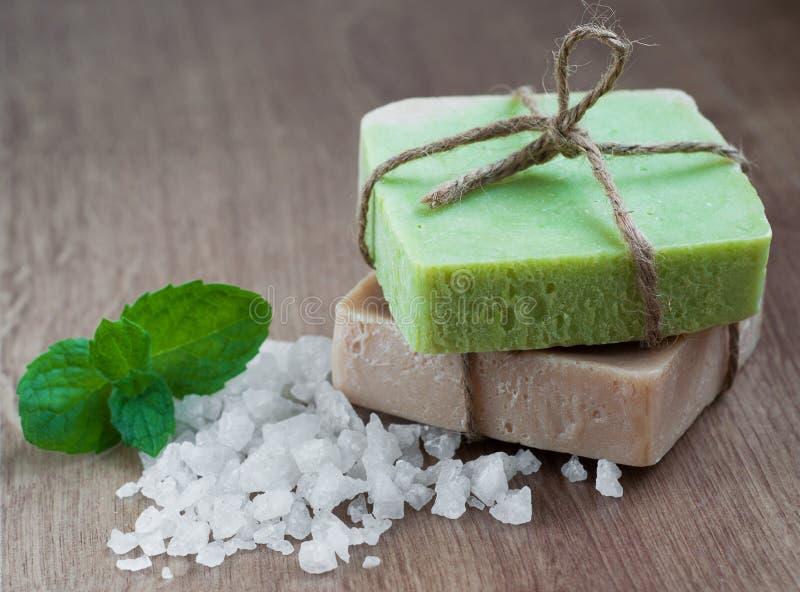 自然草本肥皂 库存照片
