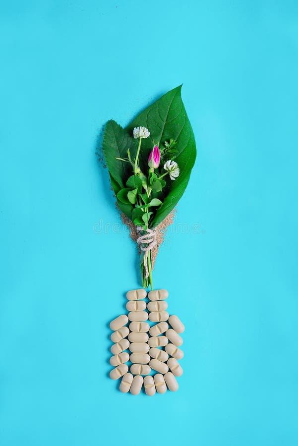 自然菜药片、添加剂、绿色叶子和瓶 自然和植物健康的概念 健康生活方式 库存图片
