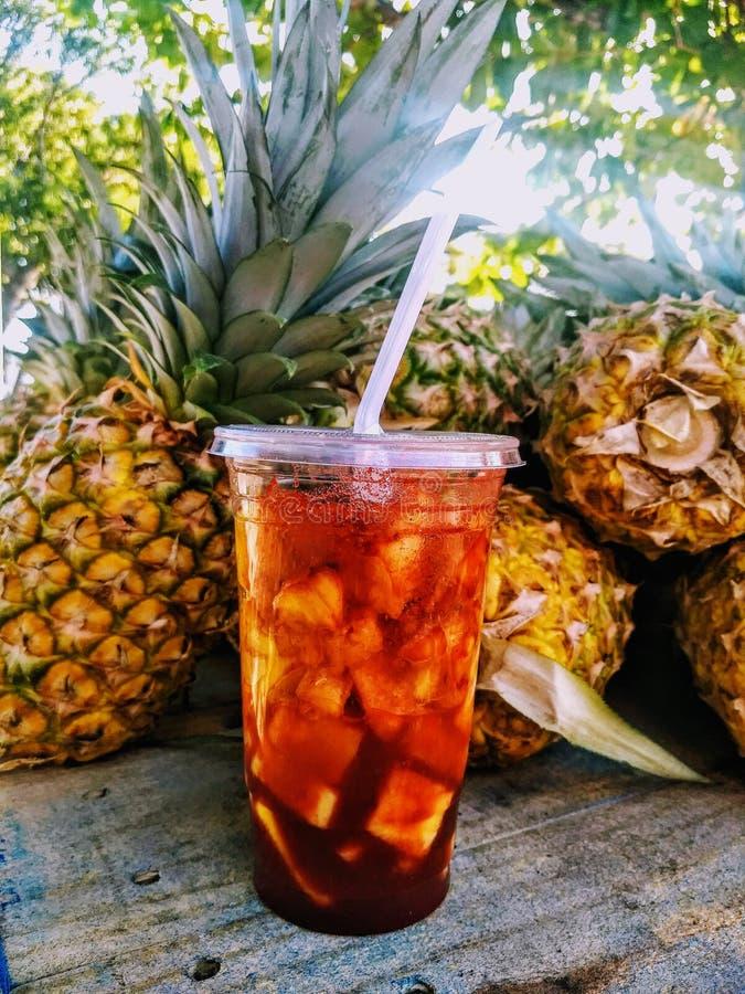自然菠萝鸡尾酒用一些香料 库存图片