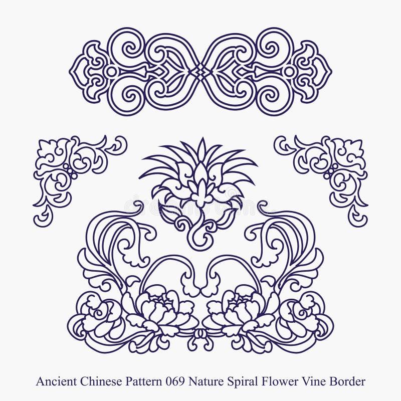 自然螺旋花藤边界的古老中国样式 皇族释放例证