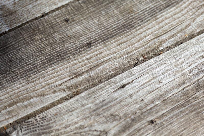 自然被打结的灰色风化了木板条纹理背景 图库摄影