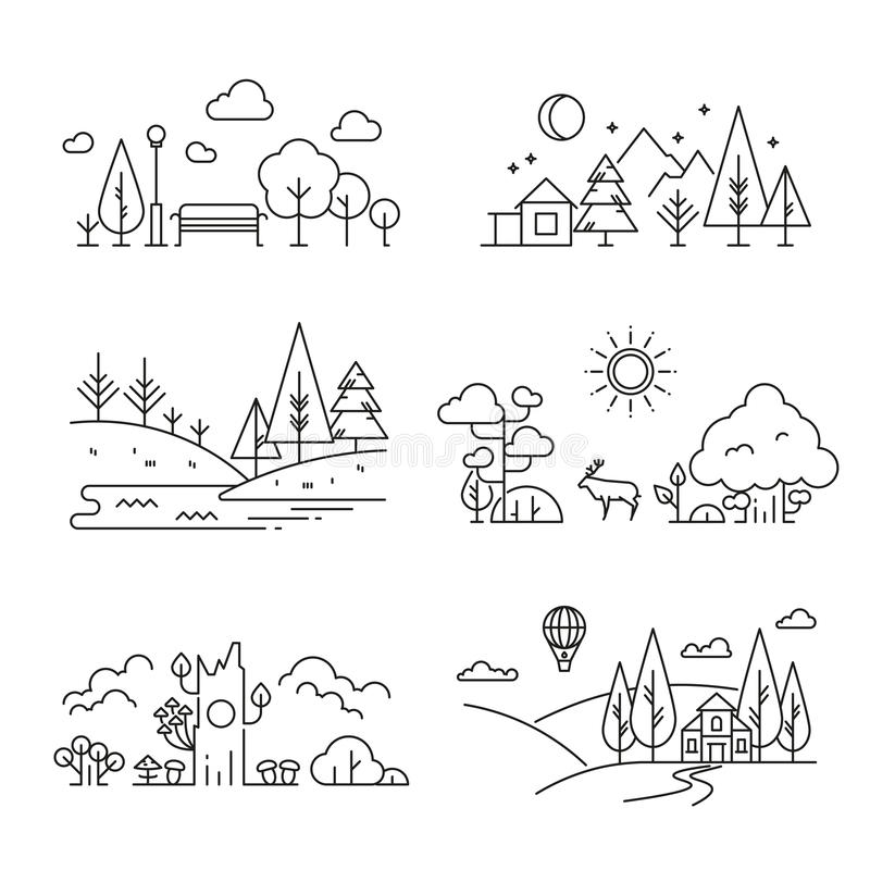 自然风景与树的概述象,植物,山,河 向量例证