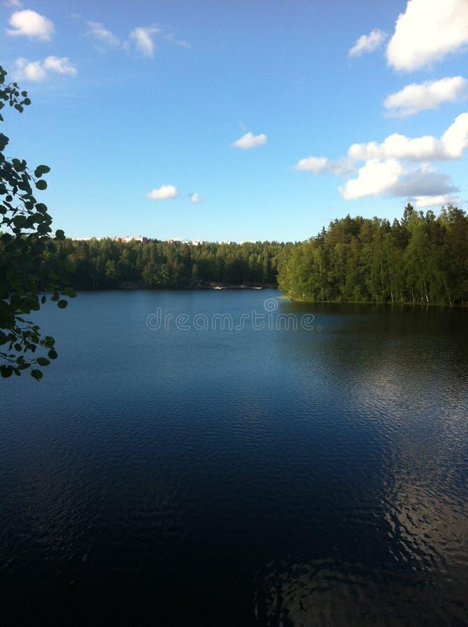 自然风景湖在春天 免版税库存照片