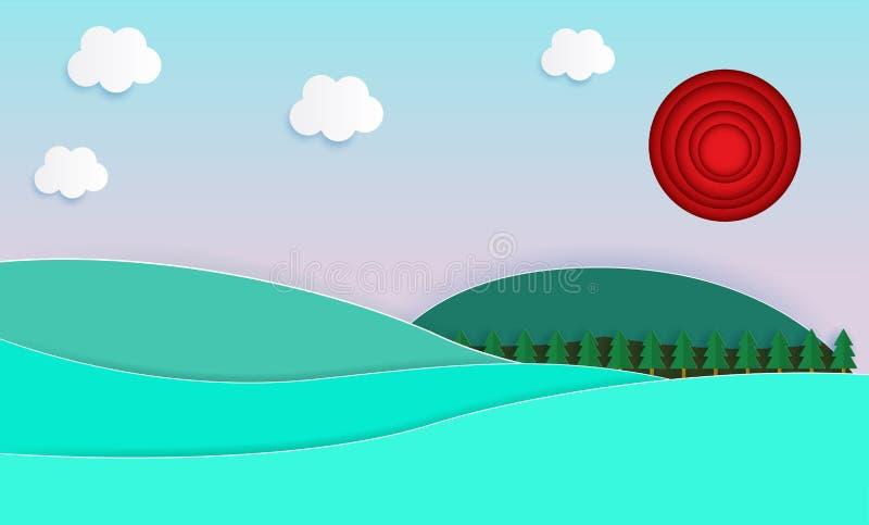 自然风景背景,纸裁减样式、美好的夏天和自然淡色计划背景平的设计传染媒介illus 库存例证