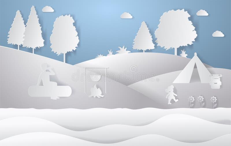 自然风景设计  五颜六色的纸裁减样式 野营的传染媒介例证 皇族释放例证