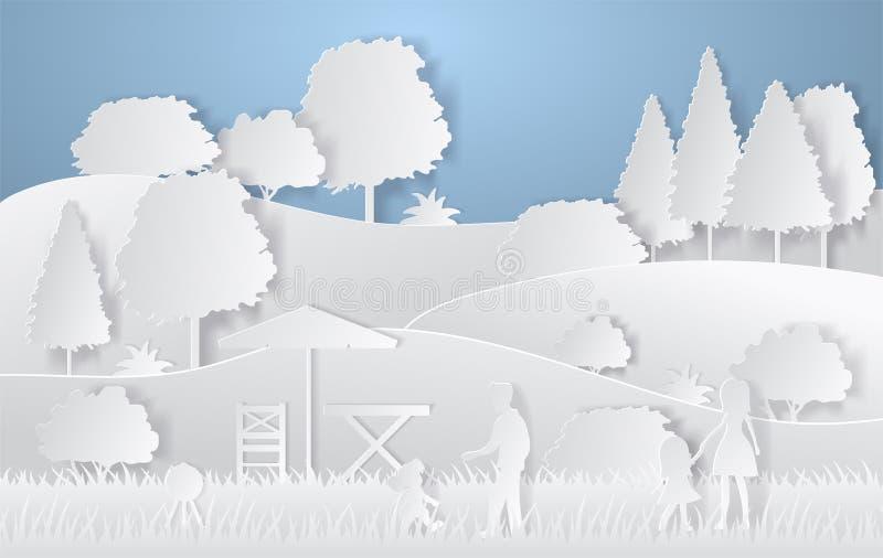 自然风景设计  五颜六色的纸裁减样式 野营的传染媒介例证 库存例证