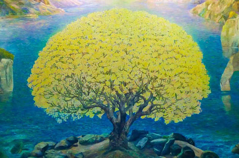 自然风景水彩油漆  库存照片