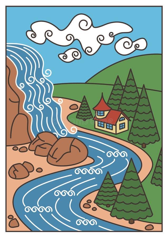 自然风景-瀑布、河、山和美丽的房子 皇族释放例证