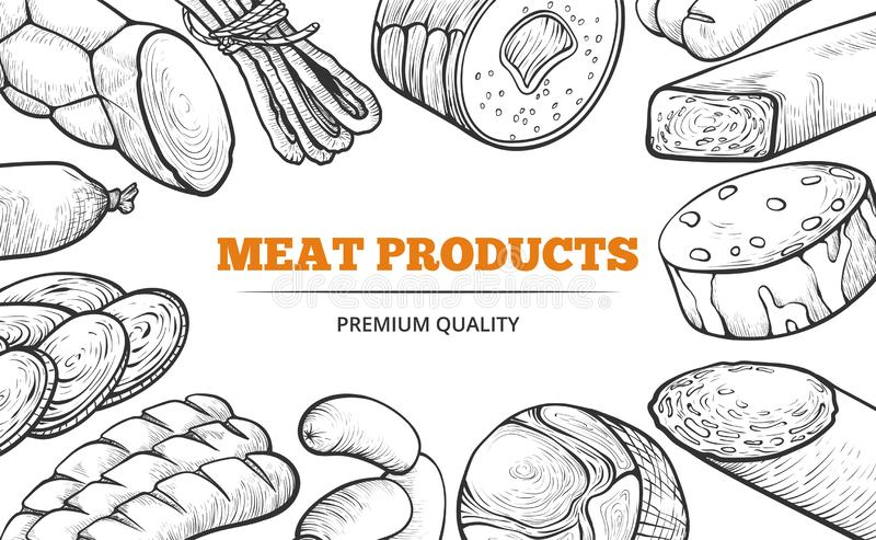 自然香肠和肉制品线艺术横幅 皇族释放例证