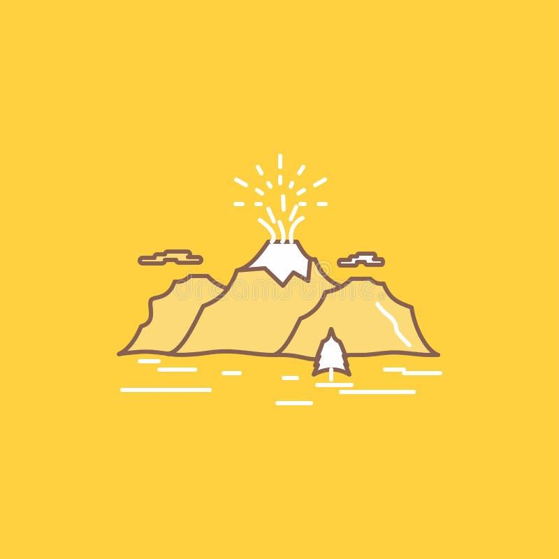 自然,小山,风景,山,疾风平的线填装了象 r 向量例证