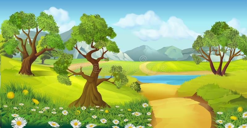自然,风景背景 库存例证