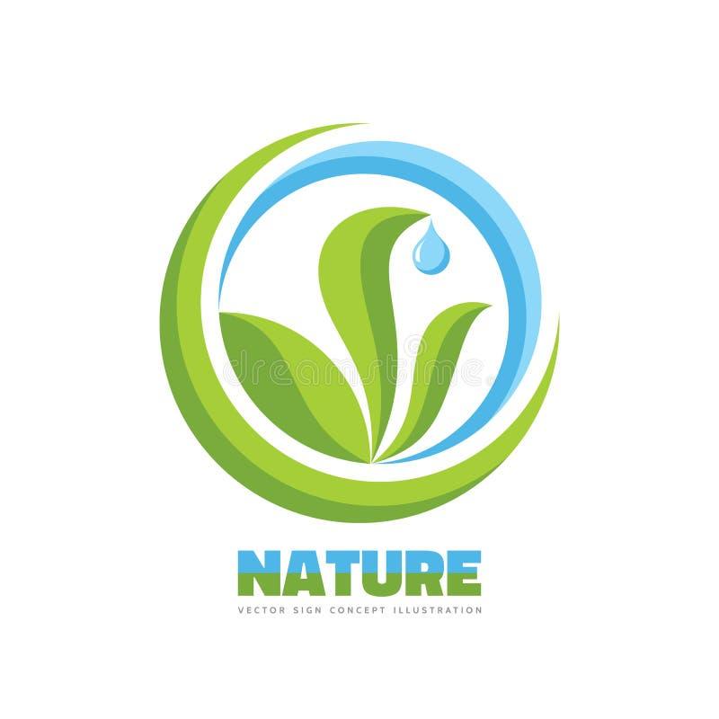 自然-传染媒介商标模板在平的图形设计样式的概念例证 绿色叶子、大海下落和抽象形状 皇族释放例证