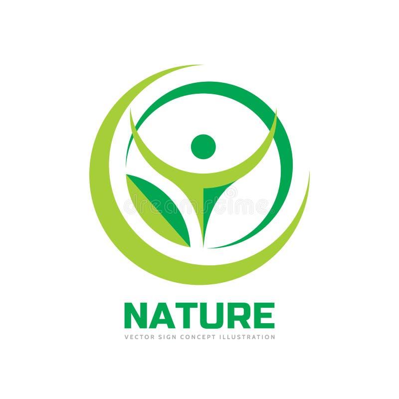 自然-传染媒介商标模板在平的样式的概念例证 抽象形状 绿色叶子和人的字符剪影 库存例证