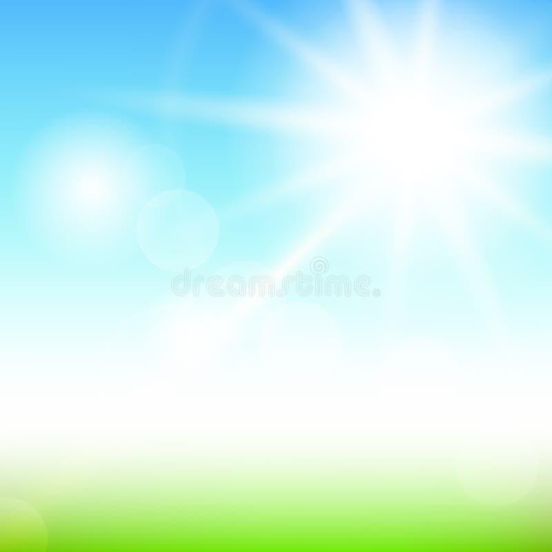 自然晴朗的抽象夏天背景 向量例证