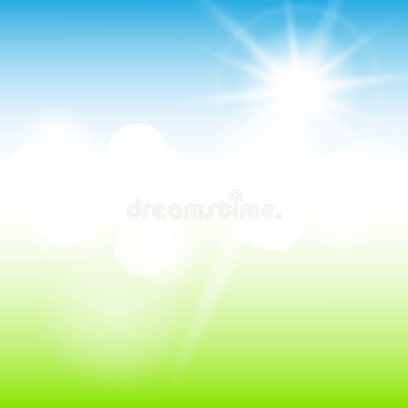 自然晴朗的抽象夏天背景 皇族释放例证