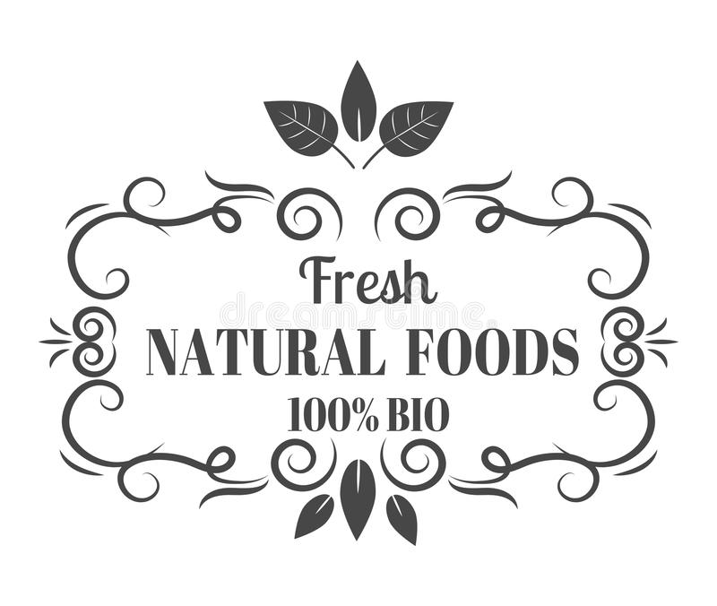 自然eco有机产品标签徽章传染媒介 皇族释放例证
