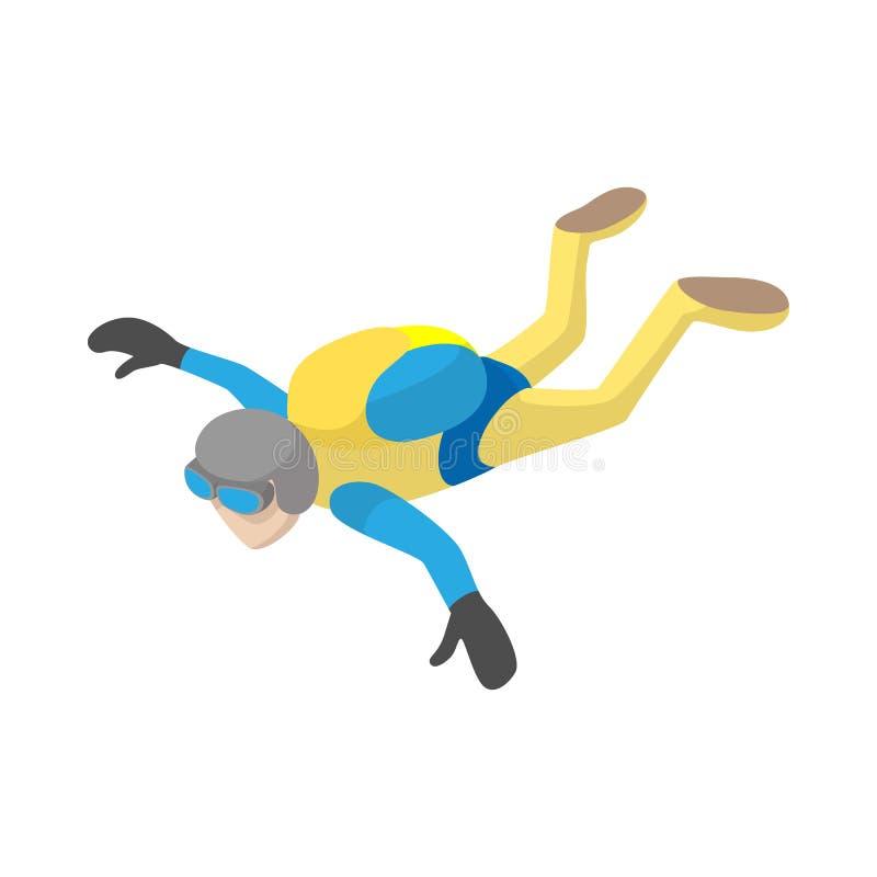 自由下落象的,动画片样式跳伞运动员 库存例证
