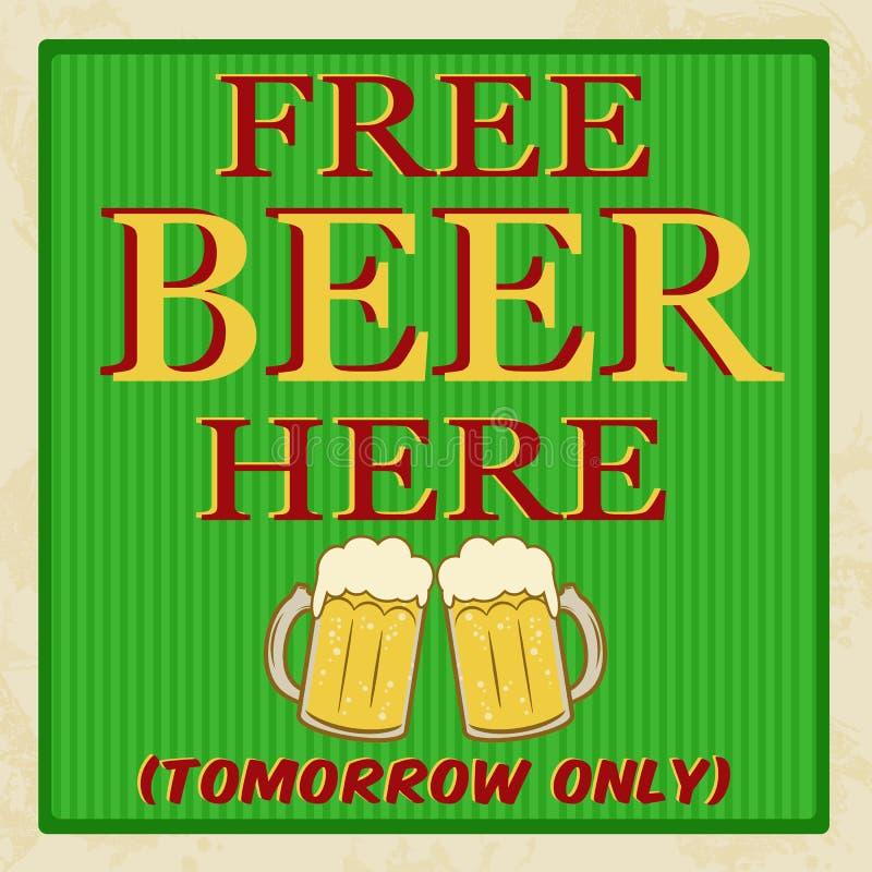 自由啤酒明天海报 向量例证