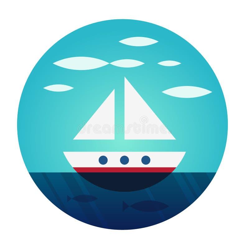 自由地漂浮的小船 库存图片