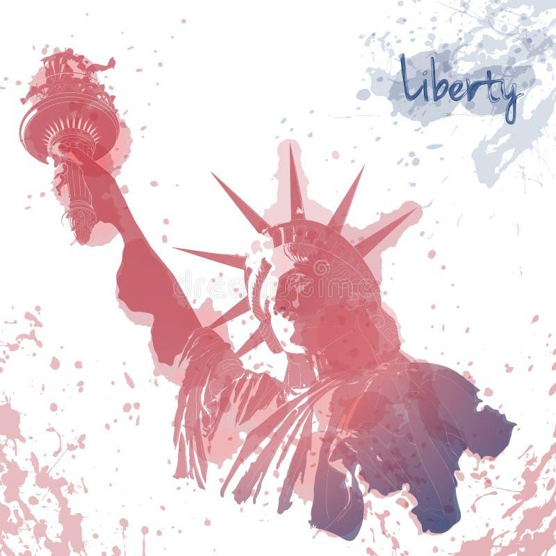 自由女神像、墨水和水彩绘画艺术设计  7月四日庆祝的美国设计 美国符号 向量例证