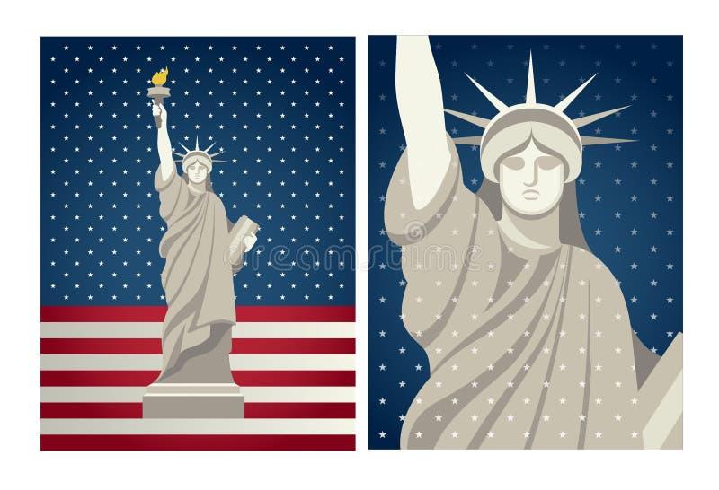 自由女神像传染媒介葡萄酒设计为7月第4美国 库存例证