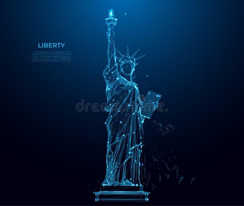 自由女神像在从微粒、线和三角的纽约在蓝色背景 多角形wireframe剪影 向量例证