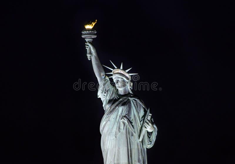 自由女神像在晚上,纽约 图库摄影