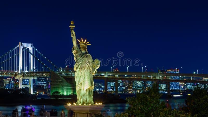 自由女神像在Odaiba地区,东京,日本 图库摄影