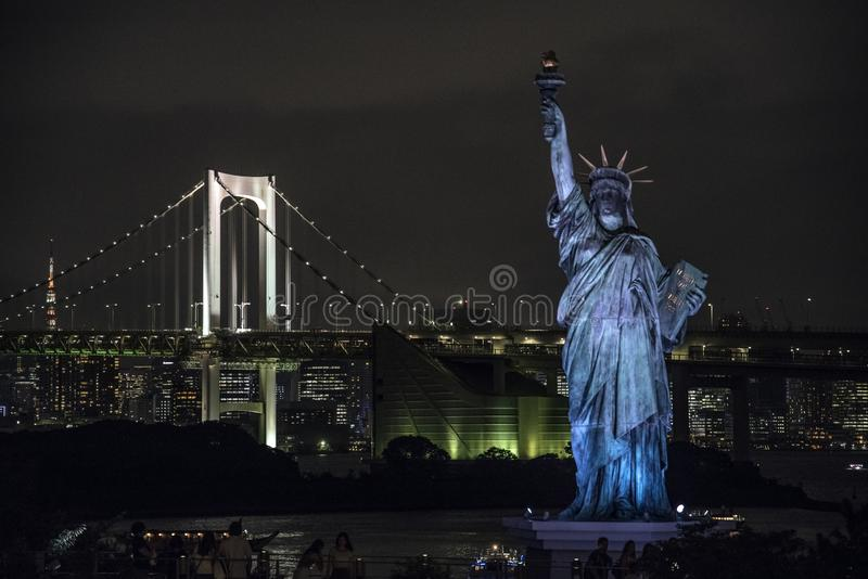 自由女神像在Odaiba地区,东京 免版税图库摄影