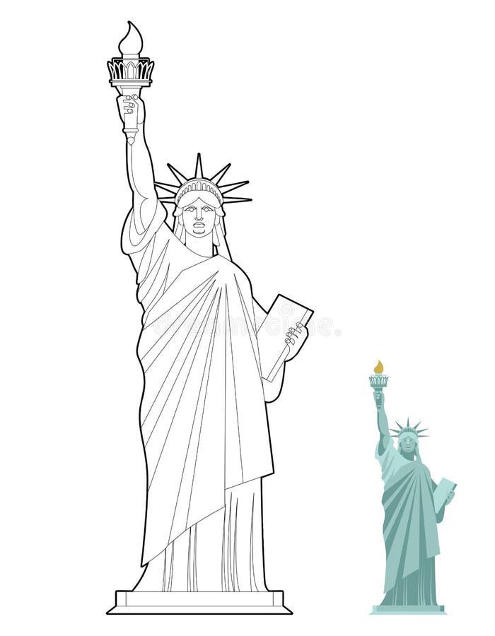 自由女神像彩图 自由和民主的标志 向量例证