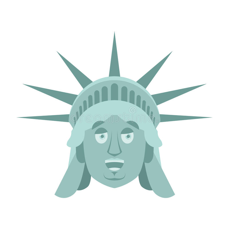 自由女神像愉快的Emoji 美国地标雕象面孔快活的emo 皇族释放例证