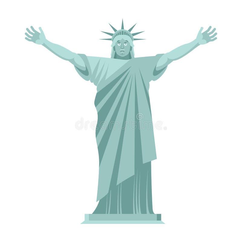 自由女神像是快乐的 愉快的地标美国 Sculptur 库存例证