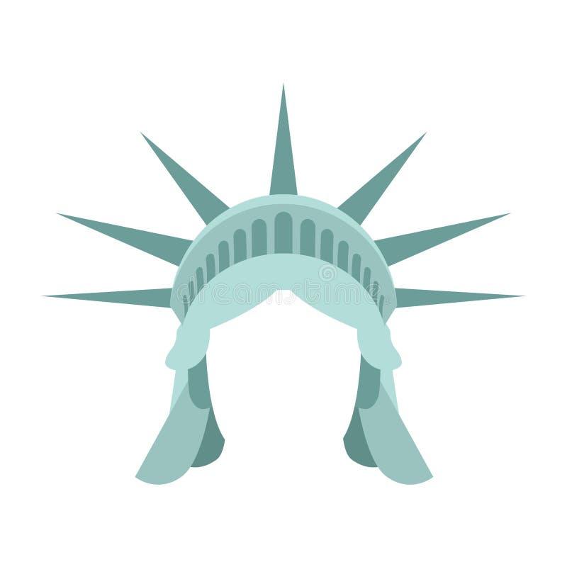 自由女神像模板面孔头 头发和冠的嘲笑 库存例证