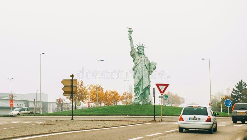 自由女神像的拷贝由Auguste Bartholdi做了 库存图片
