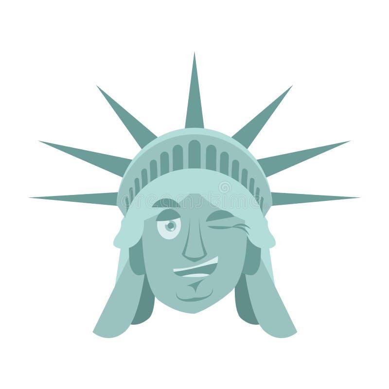 自由女神像闪光Emoji 美国地标雕象面孔happyl em 皇族释放例证