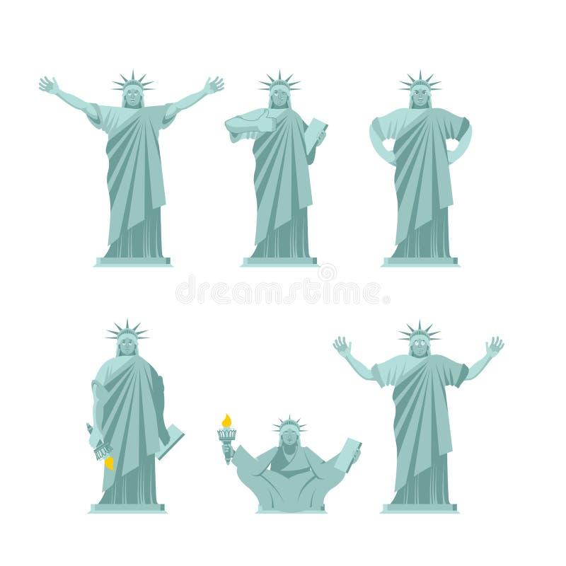 自由女神像集合姿势 吸引力美国套运动 皇族释放例证
