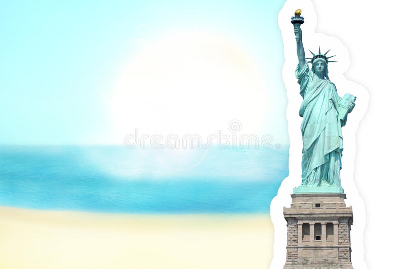 自由女神像晴朗的天空 向量例证