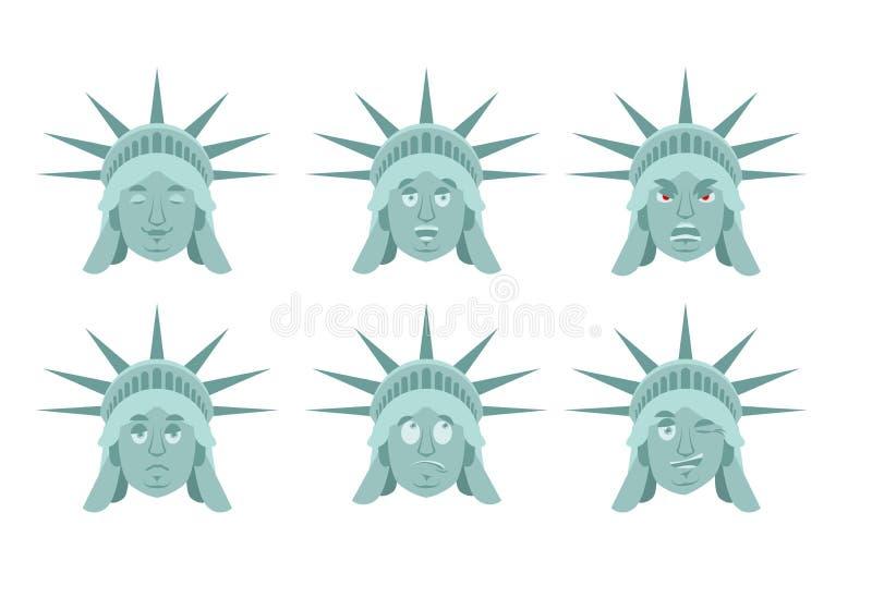 自由女神像emoji 情感集合 积极和好美国lan 库存例证