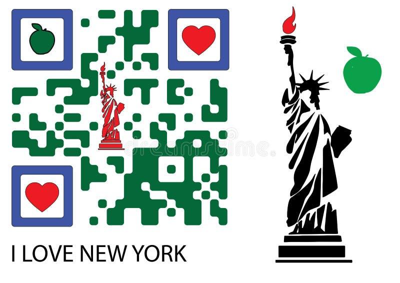 自由女神象和我爱纽约QR代码 向量例证