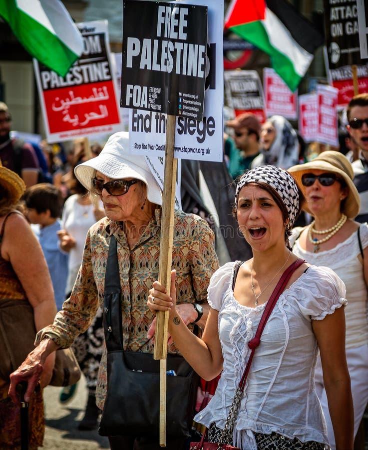 自由巴勒斯坦抗议游行在海德公园,伦敦,英国 免版税库存照片