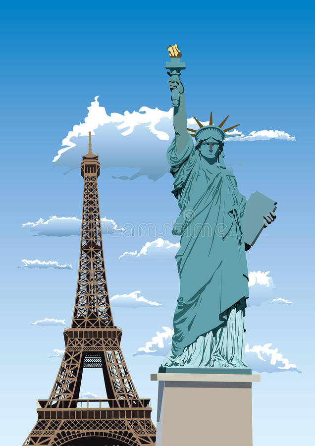 自由巴黎雕象 向量例证