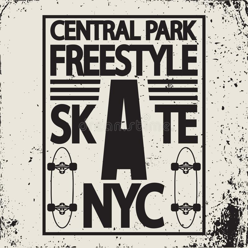 自由式纽约冰鞋板印刷术象征 向量例证