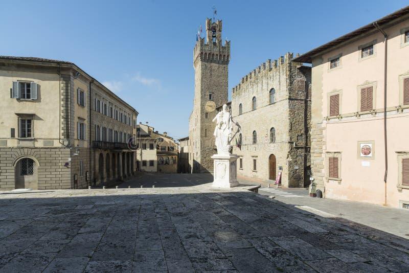 自由方形的阿雷佐托斯卡纳意大利欧洲 库存照片