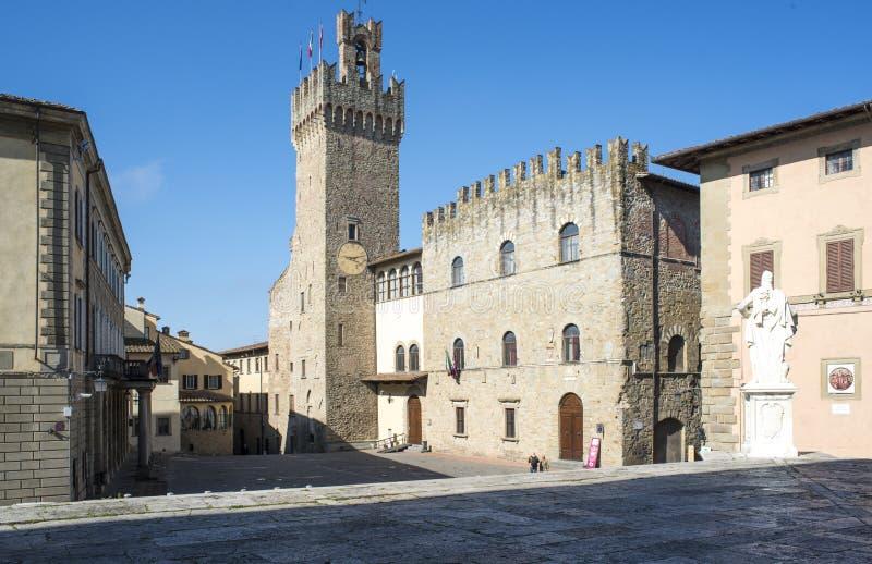 自由方形的阿雷佐托斯坎意大利欧洲 免版税库存照片
