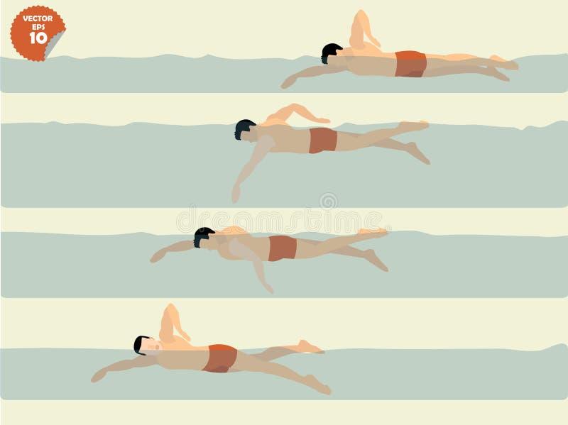 自由样式游泳,游泳设计例证传染媒介  库存图片