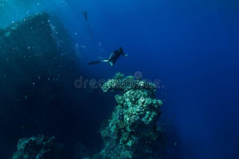 自由潜水者水中在有岩石和珊瑚的海洋 库存图片