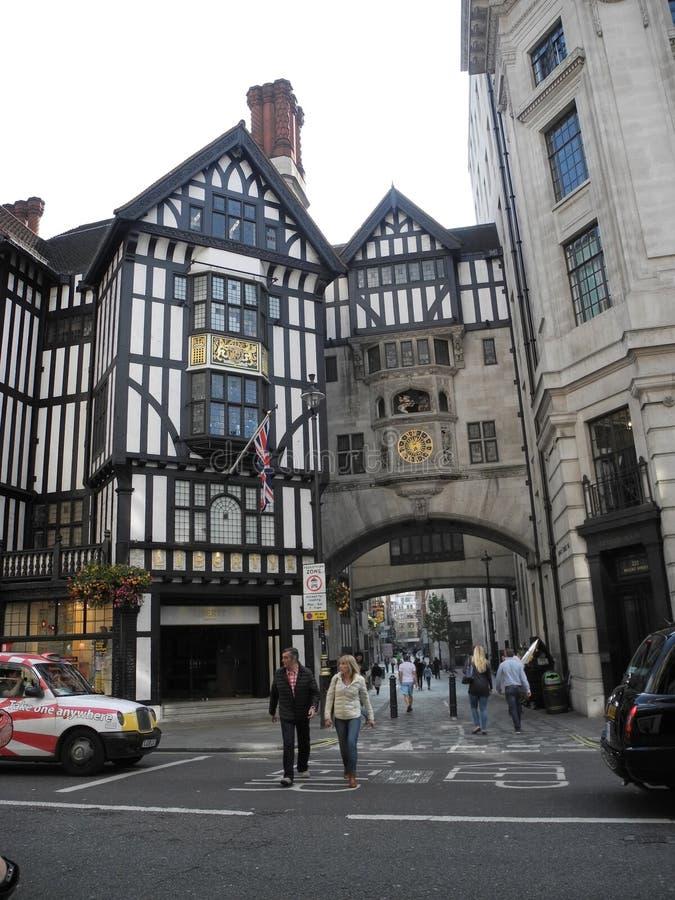 自由百货大楼,伟大的Marlborough街,伦敦, Engl 库存照片