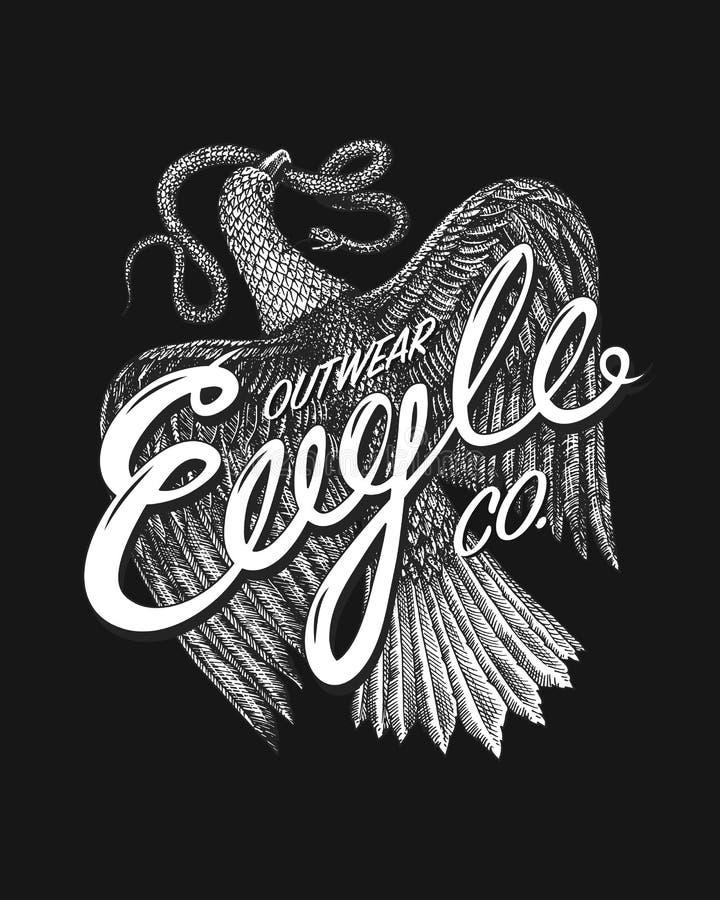 自由的天鹰座标志 野生老鹰,掠食性鸟 手拉的传染媒介 T恤杉商标的葡萄酒模板 Grunge标签 皇族释放例证
