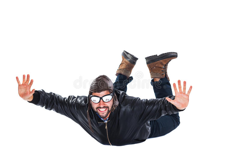自由的落的愉快的飞行员 库存图片